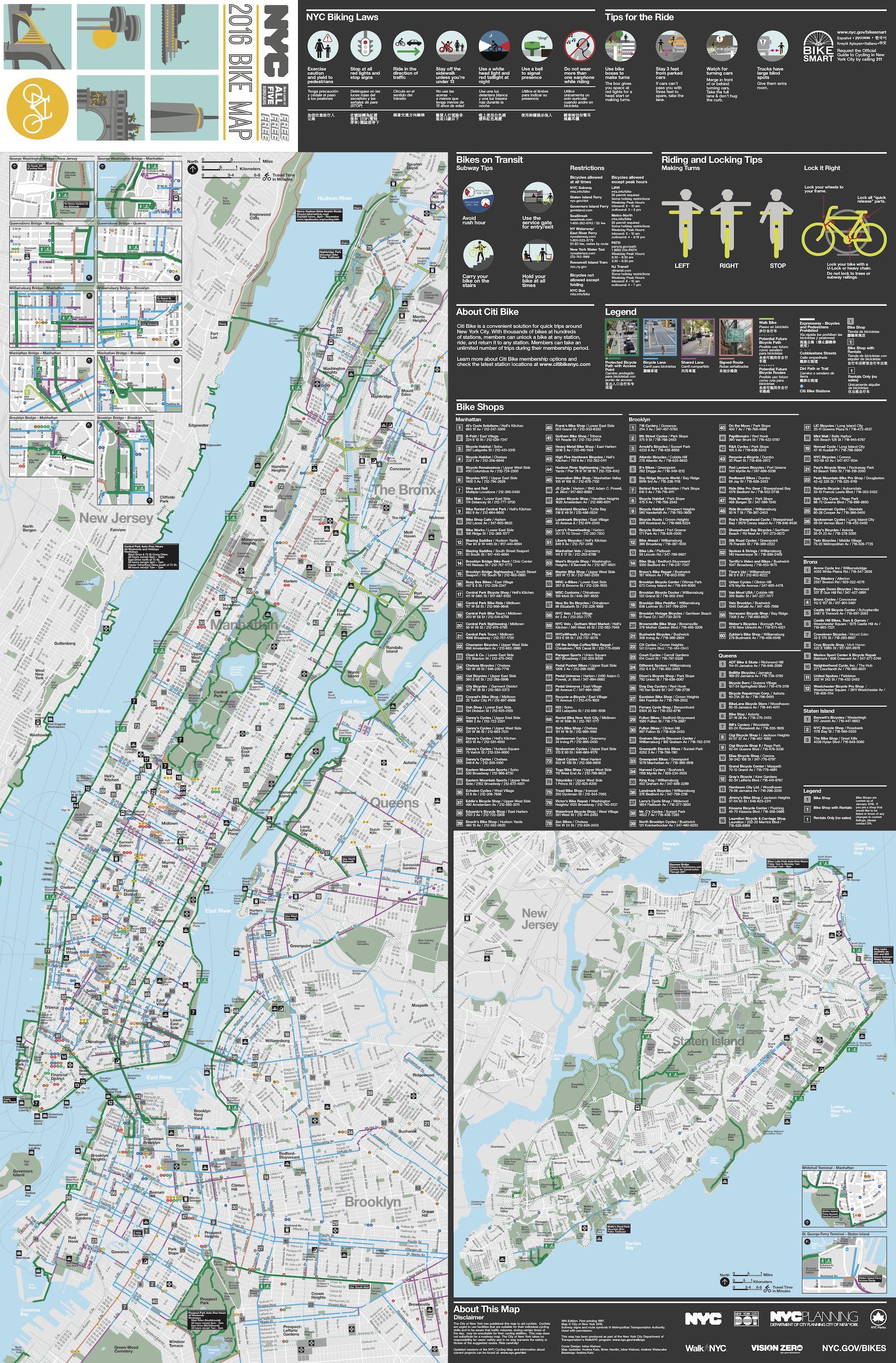 Fahrrad Karte.Manhattan Fahrrad Karte Manhattan Radkarte New York Usa