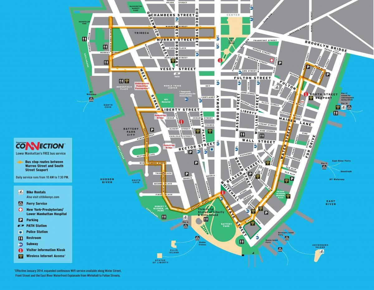 Walking Karte Von Lower Manhattan Manhattan Walking Tour