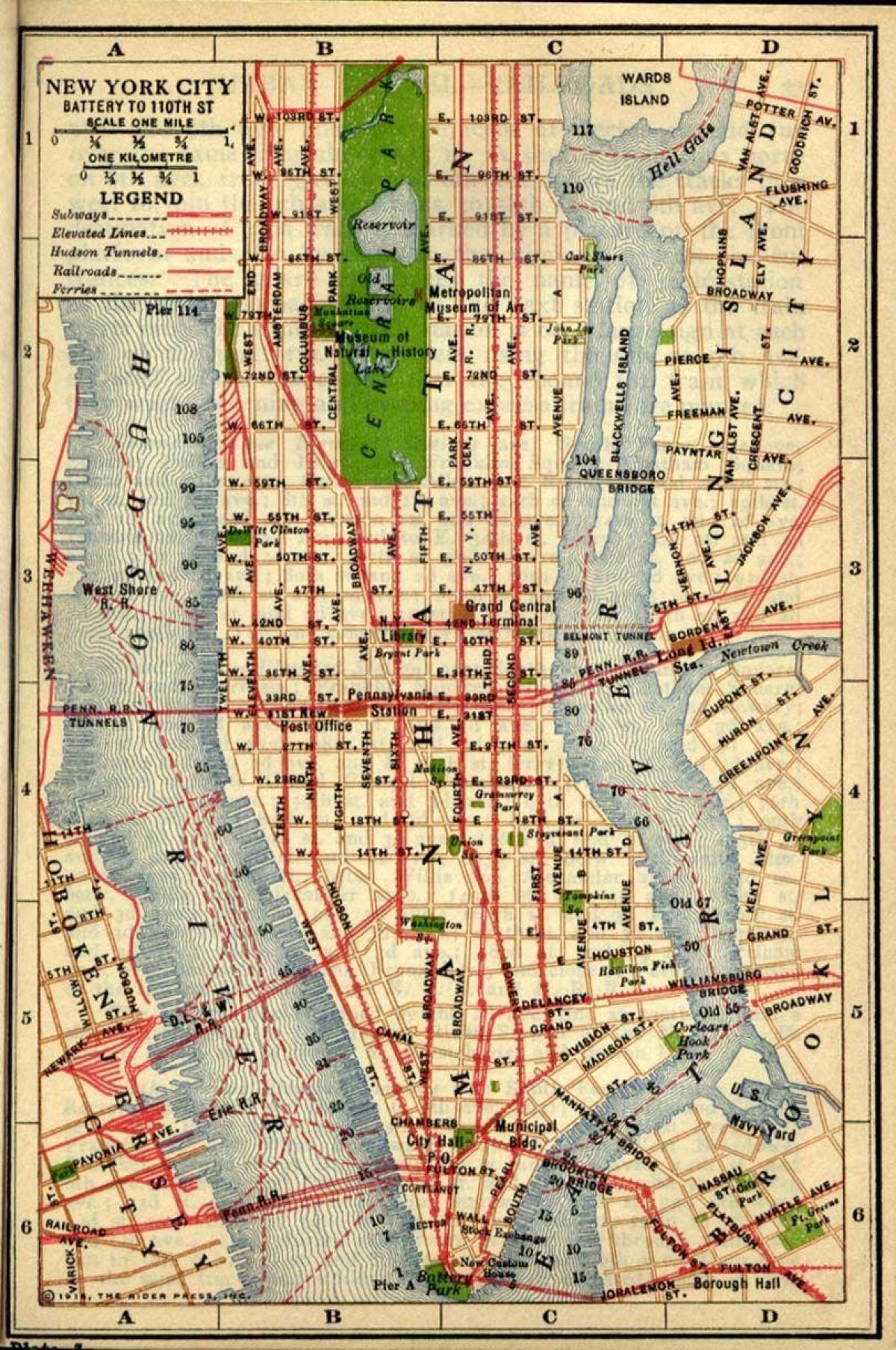 Alte Manhattan map - Karte des alten Manhattan (New York - USA)