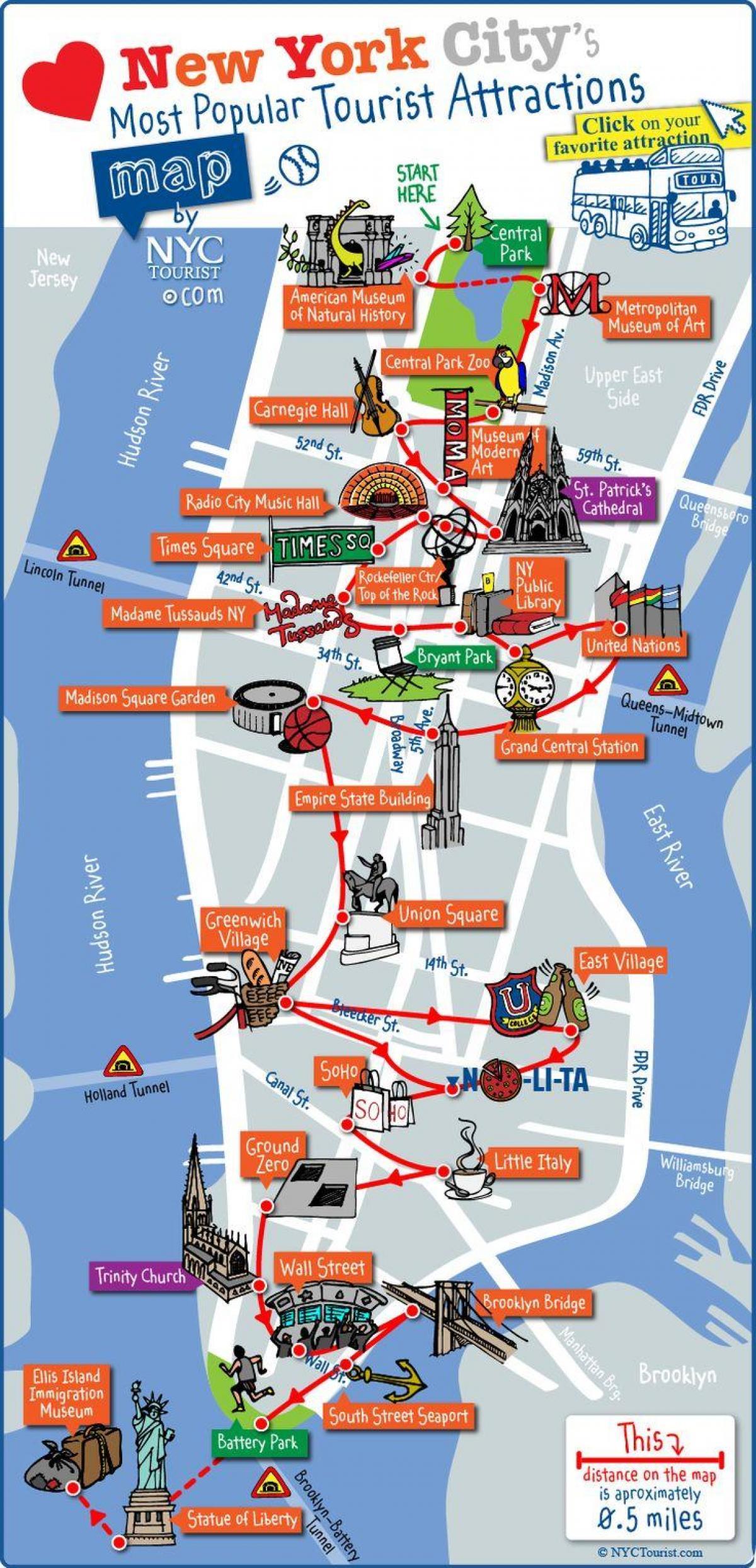 Midtown Manhattan Touristische Karte Midtown Manhattan